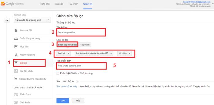 Bộ lọc của Google Analytic